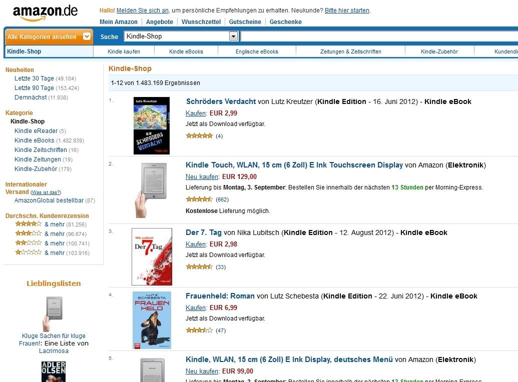 """Im Sommer 2012 war der Thriller """"Schröders Verdacht"""" auf Platz 1 im Kindle-Shop"""