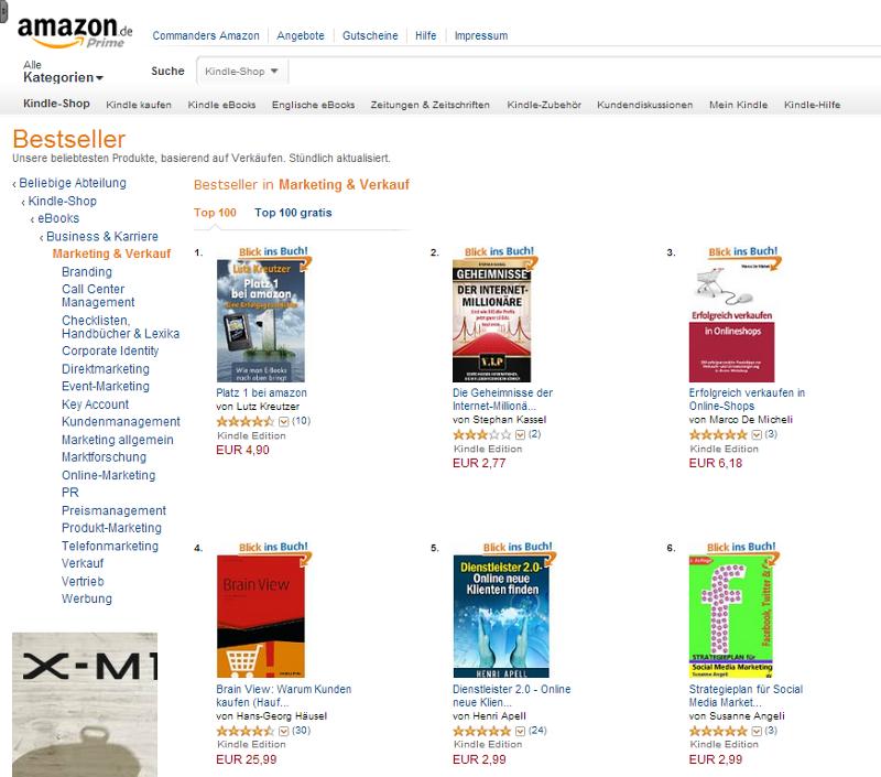 """""""Platz 1 bei amazon"""" beweist sich selbst als Nr. 1 der Bestsellerliste """"Marketing und Verkauf"""""""