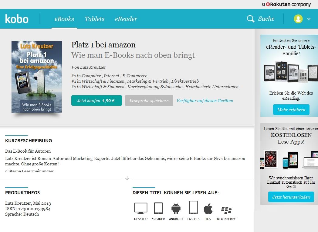 """""""Platz 1 bei amazon"""" beweist sich selbst als Nr. 1 von 3 Bestsellerlisten bei Kobo"""